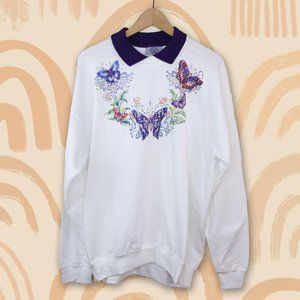 Vintage Butterfly Grandma Cottagecore Sweater